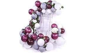 PuTwo Globos Blancos Gris Burdeos 80 pz 12''Globos Borgoños Globos Blancos Globos Blancos para Decoraciones de Burdeos Baby Shower, Decoraciones de Bodas Grises, Decoraciones de Cumpleaños Blancas