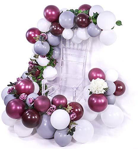 PuTwo Palloncini Bordeaux Grigio Bianco 80 pz Palloncini Bordeaux 12'' Palloncini Bianchi Palloncini Grigio per Vino Rosso Decorazione Compleanno, Decorazioni di Nozze Grigi, Compleanno Bianche