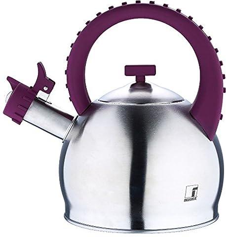 Induktion Wasserkessel aus Edelstahl Teekessel Flötenkessel Pfeifkessel Herd lila/silber (Kapazität ca. 2,8 Liter + Bodendurchmesser ca. 17,7 cm x Höhe ca. 26,5 (Aluminium Stahl Tee-kessel)