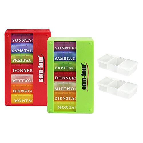 com-four® 2X Medikamentendosierer 7 Tage - Medikamenten-Box (Morgens, Mittags, Abends) - Pillendose - Tablettendose - Wochendosierer + Pillendose mit 3 Fächern (02 Stück - rot/grün)