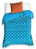 BSD Biancheria da letto in cotone 160x200 Piselli bianchi arancio turchese