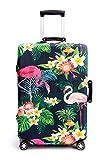 Periea Couverture de Bagages Valise élastiquée - 28 Couleurs Disponibles - Petit, Moyen ou Grand (Tropical Flamingos, Moyen)