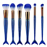 Amlaiworld Damen mode Augen Gesichtspinsel 6 Fischschwanz bürsten Lidschatten make-up pinselset Kosmetik Meerjungfrau Basic pinsel set (Blau)