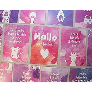 Baby Meilenstein Karten, erstes Jahr, 34 Postkarten (Girls Edition)