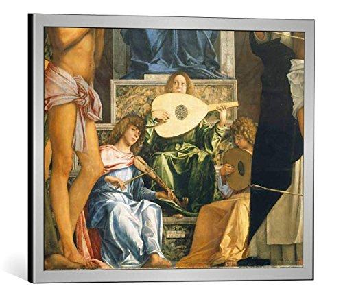 Kunst für Alle Cuadro con Marco: Giovanni Bellini Sacra Conversazione - Impresión artística Decorativa con Marco, 50x40 cm, Plata cepillada