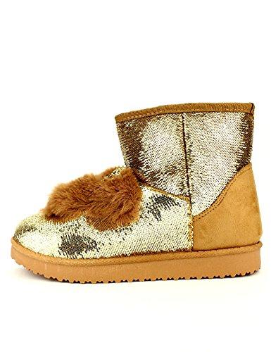 Mulanka Femme Paillettes Camel Cendriyon Fourrées Boots Chaussures FwZnqIBTRx