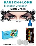 #10: Natural Look Quarterly Dark Green Color Zeropower Colorered Contact Lens with Free Lens Care Kit (2 Lens Pack) By Visions India.