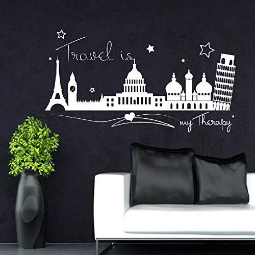Preisvergleich Produktbild zqyjhkou Wandtattoo Zitat Travel Europe Modern Removable Home Decor Stilvolle Sofa Hintergrund Hohe Qualität Wandbild Wandaufkleber 104x56 cm