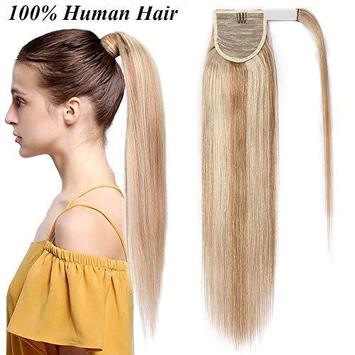 Remy Haarteile (Ponytail Clip in Pferdeschwanz Echthaar Extension Hair Piece Haarteil Haarverlängerung Remy Human Honigblond/Hellblond #18p613 16