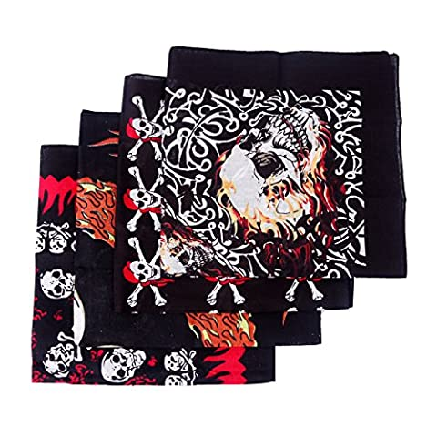 HDE 4-Pack Bandana Motorcycle Hippy Face Mask Kerchief (Skull Mix)