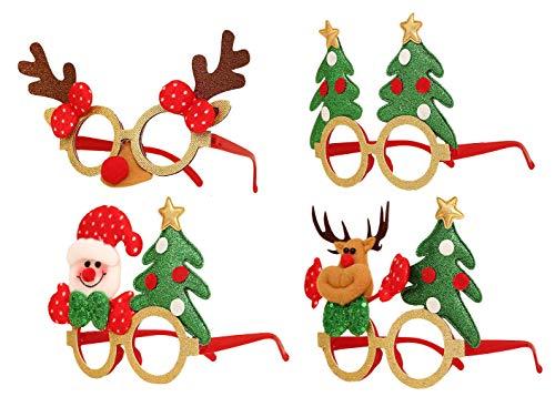 Cloud Kids Weihnachten Brille Weihnachtsbaum Rentier Spaßbrille Partybrille Weihnachtsdeko (Mehrfarbig)