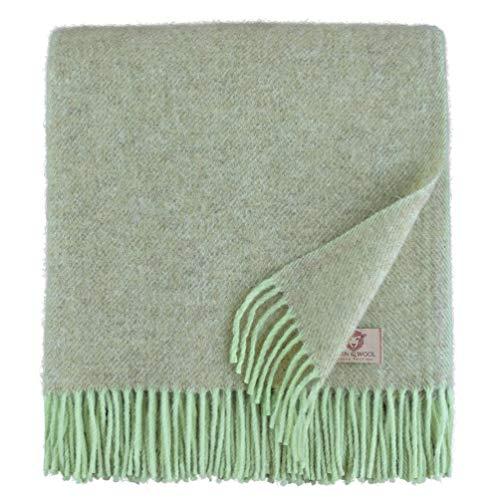 Linen & Cotton Weiche Warme Decke Wolldecke Wohndecke Kuscheldecke Columbus - 100% Reine Neuseeland Wolle, Beige/Green (140 x 200 cm) Sofadecke/Tagesdecke/Überwurf/Blanket/Plaid Schurwolle -