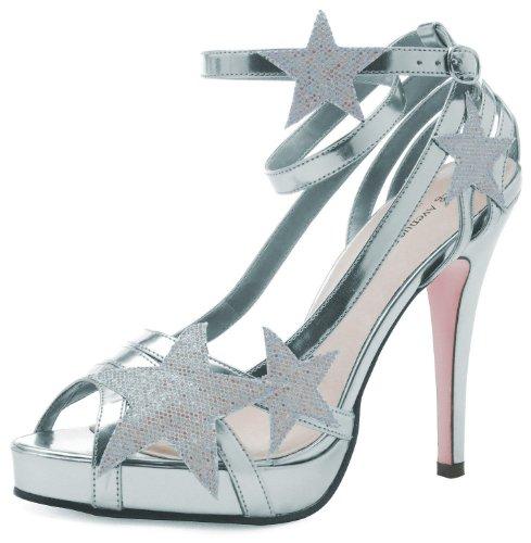 Leg Avenue - Starlight Riemchen Sandalette - silber - 40 (Avenue Sandalen Leder)