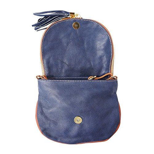 Florence Leather Market , Damen Schultertasche Small Blu Scuro-cuoio
