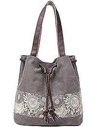 a05ff69444b6d JuguHoovi Damen Handtasche Canvas Schultertasche Umhängetasche Damen  Shopper Tasche Vintage Henkeltasche