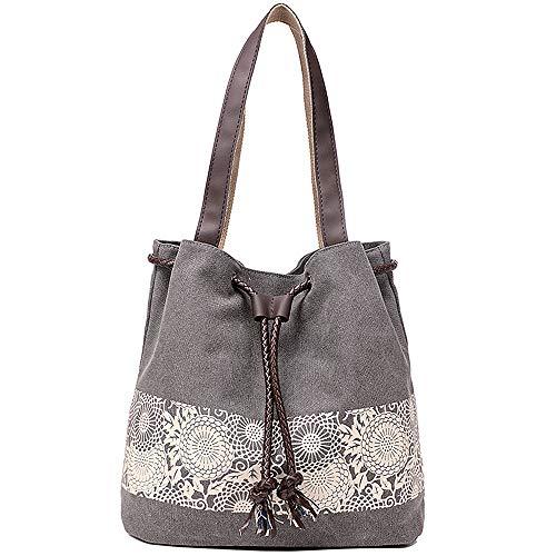 JuguHoovi Damen Handtasche Canvas Schultertasche Umhängetasche Damen Shopper Tasche Vintage Henkeltasche,30x29x12cm,Grau