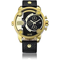 Sheli Fashion Trend 2 Tone Black and Gold 24H Analog Quartz Waterproof Bracelet Watch