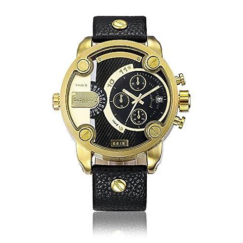 Sheli 2 Ton Schwarz und Gold 24H Analoge Quarz Wasserdichte Armbanduhr für Herren