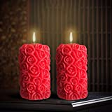#5: Smokeless Scented Red Cylinder Shape Candle Decorate Diwali Birthday Party by FURNISHING FACTORY - set of 2