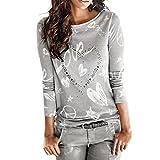 MujerManga larga Carta Impresión Camisa, WINWINTOM Casual Blusa Suelto Tops (XXL, Gris)