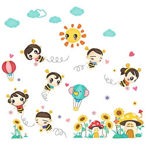 (Niedlicher Kindergarten Klassenzimmer Selbstklebende Wand Aufkleber Cartoon Kinderzimmer-dekoration Baby Schlafzimmer Kleine Bienen-aufkleber)