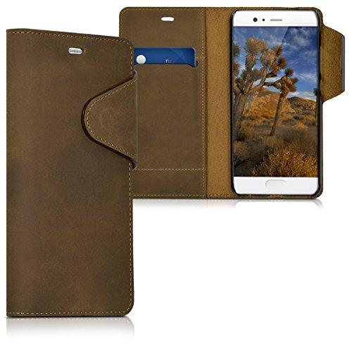 kalibri-Echtleder-Wallet-Hlle-fr-Huawei-P10-Case-mit-Fach-und-Stnder-in-Braun