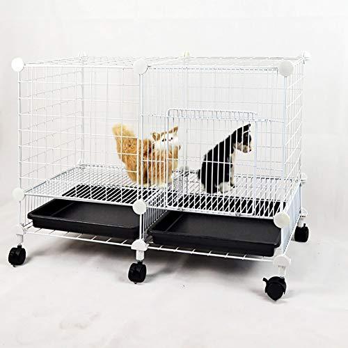 SuRose Tragbare Metall-Hundekisten für mittelgroße kleine Hunde mit Rädern, Schwarz, Haustier im Freien, Katzenhauszaun, 75 * 37 * 52 cm (Farbe: Weiß)