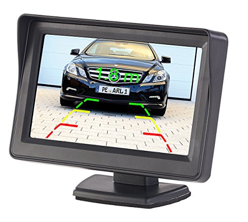 Lescars Rückfahrkamera Monitor: Kfz-Monitor für Rückfahr- & Front-Kamera, LCD-Display mit 10,9 cm/4,3