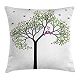 OQUYCZ Birds Throw Pillow Cushion Cover, Spring Tree with Flying Love Birds Floral Branches Romance Couple Home Art, Decorative Square Accent Pillow Case, 18 X 18 Inches, Green Black Purple