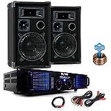 PA Party Kompakt Musikanlage PA Boxen 2400W Verstärker Kabel DJ-484