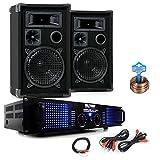 PA Party Kompakt Musikanlage PA Boxen 2400W Verstärker Kabel DJ-Party 12
