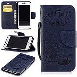 iPhone 7 Hülle, iPhone 7 Ledertasche,iPhone 7 Brieftasche, iPhone 7 Handyhülle,Lifetrut [Magnetverschluss] Buch-Art bunter Schlag-Bär mit dem Säge-Mappen-Kasten-Folio-Abdeckung für iPhone 7 [Marine]