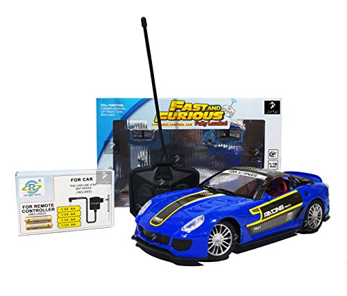 Fast & Furious 1:16 Radio Control Car with 4*AA Batteries and Charger for Car (Royal Blue California)