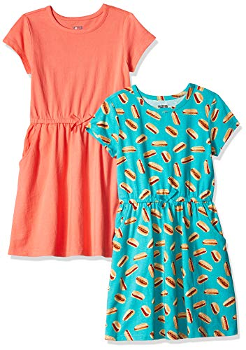 Spotted Zebra Big Girls' 2-Pack Knit Short-Sleeve Cinch Waist Dresses, Hot Dog/Coral, X-Large (12) (Mädchen Coral Kleider)