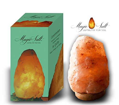 Lampada di sale con CERTIFICATO DI GARANZIA Salgemma dell\'Himalaya 4-6kg MAGIC SALT LIGHTING FOR YOUR SOUL in scatola originale.