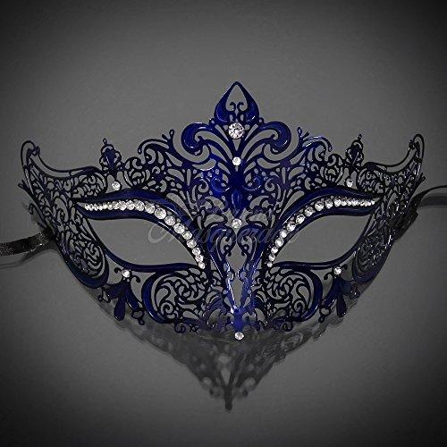 Sonne Göttin Kostüm - Four-Seasonstore New Frauen Metall Maske Venezianischer Stil Marineblau Blau Colorful Masquerade Maske Party