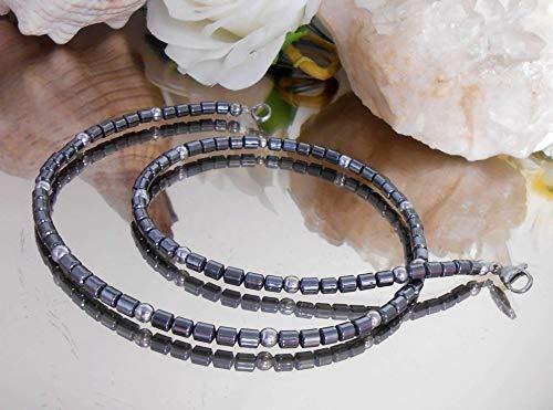 Herren Damen HÄMATIT Halskette - Collier schwarz silber - Walzen + Perlen Form - Edelstahl Karabiner Verschluß /E019 -