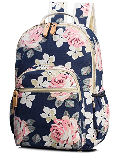 Leaper Vintage canvas Rucksack mit Blumen kinderrucksack mädchen schulrucksack für Schule Uni Freizeit Dunkelblau