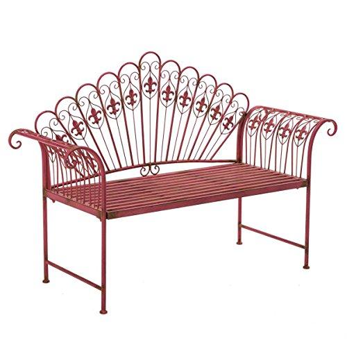 Gartenbank Sitzbank 2-Sitzer Eisen Pink Vintage-Look