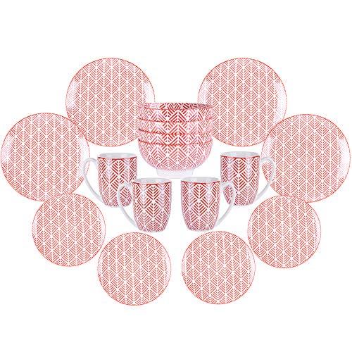Vancasso momoko, stile natale servizio piatti set 16 pezzi, servizio da tavola per 4 persone in porcellana rosa con piatti da dessert, tazza da caffè, piatti piatto, ciotole per cereali