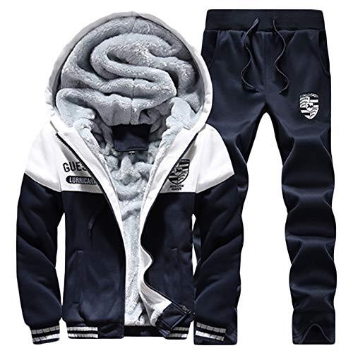 QitunC Herren Verdicken Fleece Gefüttert Trainingsanzug Sets 2 Stücke Kapuzen Jacke Sweatshirt Jogginghose Dunkelblau XXL -