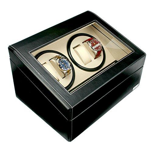Axis caricatore per 4 orologi, in pelle nera, con spazio per 6 orologi