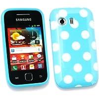 Paquete Emartbuy Valor Para Samsung S5360 Galaxy Y Protector De Pantalla Lcd + Gel Lunares De La Piel Cubierta / Caja Azul + Compatible Micro Usb Car Charger
