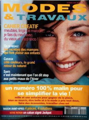 MODES ET TRAVAUX [No 1271] du 01/10/2006 - CAHIER CREATIF - LES RECETTE DES MAMANS QUI FONT PLAISIR AUX ENFANTS - CHEVEUX - SANTE - MAISON AVANT-APRES par Collectif