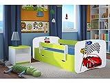 CARELLIA 'Kinderbett Ferrari 80x 180cm mit Barriere Sicherheitsschuhe + Lattenrost + Schubladen + Matratze Offert.–Zitrone