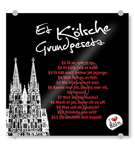 artboxONE Acrylglasbild 20x20 cm Städte/Köln ET KÖLSCHE GRUNDGESETZ schwarz - Bild Kölner Dom