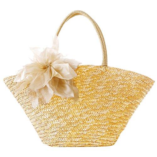 Zhhlaixing Casual Korean Style Flowers Woven Garden Pastoral Silk Flowers Fashion bags Beau sac spécial for Women Beige