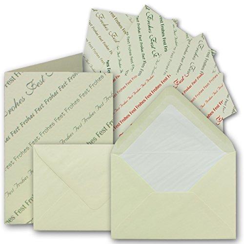 Weihnachtskarten-Set Faltkarten mit Umschlägen DIN A6/C6 25 Sets Doppel-Karten Frohes Fest in 5 verschiedenen Farben&gefütterte Briefumschläge -