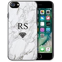 Hairyworm personalisiert, individuelle, Initialen Monogramm mit kleinem schwarz Diamant auf grau und weiß Marmor Effekt Semi Netzkabel Plastik Handyhülle, Cover, Hartplastik Telefon Hülle Gerät
