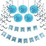 SUNBEAUTY Happy Birthday Girlande Set Geburtstag Dekoration Seidenpapier Pompoms Blau Folie Spirale Deko (Blau)
